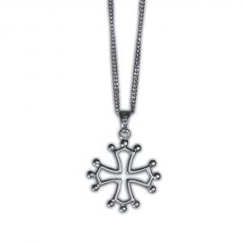 Croix Occitane en argent massif (Parure : pendentif + chaîne)